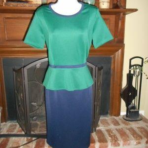 NWOT Navy and Green Puplum colorblock dress, 6